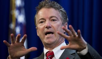 FILE - In this Jan. 13,  2015, file photo, Sen. Rand Paul, R-Ky. speaks in Washington. Most U.S. presidential candidates really don't want to spend nearly two years bowing and scraping to voters and campaign donors. And most voters sure don't want to hear about the presidential race for anywhere near that long. Yet 20 months out from the November 2016 presidential election, no fewer than two dozen potential candidates are maneuvering to run and elbowing one another for advantage. Candidates are hiring political staff, donors are taking sides, party operatives are researching potential opponents and activist groups are holding straw polls of dubious value.  (AP Photo/Manuel Balce Ceneta, File)