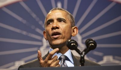 President Barack Obama speaks at the National League of Cities annual Congressional City Conference in Washington, Monday, March 9, 2015. (AP Photo/Jacquelyn Martin)