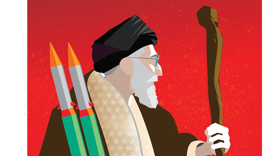 Illustration on the mission of Ayatollah Ali Khamenei by Linas Garsys/The Washington Times