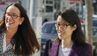 In this Feb. 24, 2015, file photo, Ellen Pao, right, leaves the Civic Center Courthouse along with her attorney, Therese Lawless, left, during a lunch break in her trial in San Francisco. (AP Photo/Eric Risberg, File)