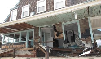An Oct. 31, 2012, photo shows an oceanfront home in Bay Head, N.J., wrecked by Superstorm Sandy two days earlier. (AP Photo/Wayne Parry)