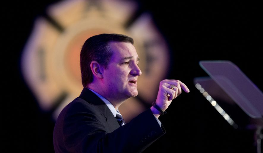 Sen. Ted Cruz, Texas Republican, speaks at the International Association of Firefighters (IAFF) Legislative Conference and Presidential Forum in Washington on March 10, 2015. (Associated Press)