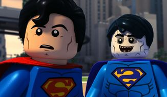 Superman and Bizarro work together in Lego DC Comics Super Heroes: Justice League vs. Bizarro League, now available in the Blu-ray format. Couretsy of Warner Home Video