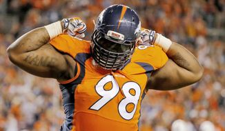 FILE - In this Sept. 7, 2014, file photo, Denver Broncos defensive tackle Terrance Knighton celebrates a stop during the second half of an NFL football game against the Indianapolis Colts in Denver. NFL free agency begins Tuesday, March 10, 2015. (AP Photo/Jack Dempsey, File)