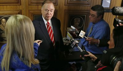 On March 10, University of Oklahoma President David Boren, above, announced the expulsion of 2 students after members of a fraternity were caught on video chanting a racial slur. (AP Photo/Sue Ogrocki)