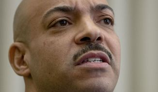 Philadelphia District Attorney Seth Williams speaks during a news conference Tuesday, March 10, 2015, in Philadelphia. Williams says Reps. Louise Williams Bishop and Michelle Brownlee and former Rep. Harold James have been charged in a grand jury probe of statehouse influence peddling and were arrested Tuesday in Harrisburg. (AP Photo/Matt Rourke)