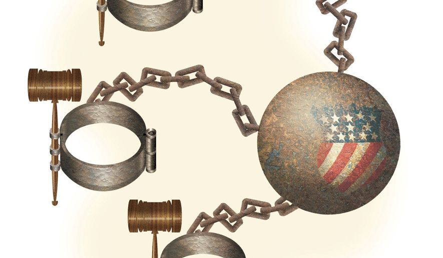 Illustration on Federal court incursions on individual liberties by Alexander Hunter/The Washington Times