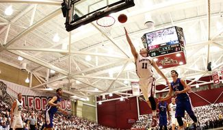 Lafayette guard Nick Lindner (11) attempts a layup against American during the first half of the NCAA college basketball game in the Patriot League championship at Lafayette in Easton, Pa., Wednesday, March 11, 2015. (AP Photo/Rich Schultz)