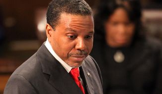 "FILE - In this Feb. 7, 2007, file photo, megachurch pastor Creflo Dollar speaks during funeral services for HERO driver Spencer Pass at World Changers Church International in College Park, Ga. Dollar is seeking donations to buy a private jet valued at more than $65 million. The website of Creflo Dollar Ministries asked people Friday, March 13, 2015, to ""Sow your love gift of any amount"" to help the ministry buy a Gulfstream G650 airplane. (AP Photo/Atlanta Journal-Constitution, Phil Skinner, File)"