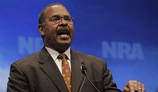 Former Ohio Secretary of State Ken Blackwell speaks at the National Rifle Association convention in St. Louis, Friday, April 13, 2012. (AP Photo/Michael Conroy)