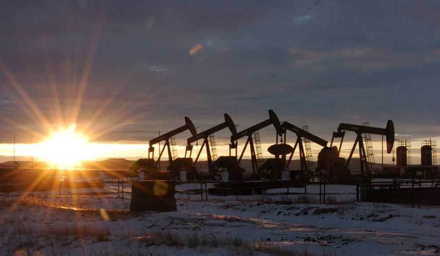 In this Jan. 14, 2015, file photo, some of the 60 rigs that are drilling surrounding McKenzie County, 40 percent of the rigs statewide, work in western North Dakota. (AP Photo/Matthew Brown, File)