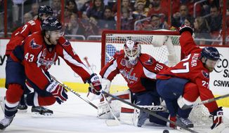 Washington Capitals right wing Tom Wilson (43) and defenseman Karl Alzner (27) defend with goalie Braden Holtby (70) in the goal in the second period of an NHL hockey game against the Boston Bruins, Sunday, March 15, 2015, in Washington. (AP Photo/Alex Brandon)