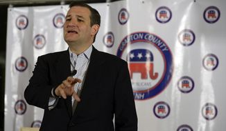 U.S. Sen. Ted Cruz, R-Texas, speaks at the Grafton County Republican Committee's Lincoln-Reagan Day Dinner at the Indianhead Resort in Lincoln, N.H., on Sunday, March 15, 2015. (AP Photo/Caledonian-Record,Paul Hayes)
