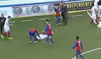 Missouri Comets defender Andre Braithwaite has been released from the team after he angrily headbutted an opponent following a 10-7 playoff loss to the Baltimore Blast. (YouTube)