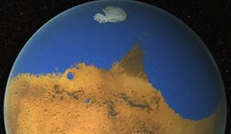 Life there, once upon a time? NASA scientists say a primitive ocean on Mars held more water than Earth's Arctic Ocean. (NASA/GSFC)
