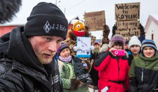 Dallas Seavey speaks after being the first musher to reach the Koyuk, Alaska, checkpoint during the Iditarod Trail Sled Dog Race, Monday, March 16, 2015. (AP Photo/Alaska Dispatch News, Loren Holmes )