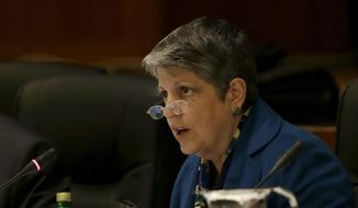 University of California president Janet Napolitano speaks while giving a briefing on the progress she and Gov. Jerry Brown have made in ironing out their differences over UC's budget during a UC Board of Regents meeting in San Francisco, Wednesday, March 18, 2015. (AP Photo/Jeff Chiu) ** FILE **