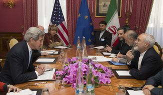 U.S. Secretary of State John Kerry, left, holds a meeting with Iran's Foreign Minister Mohammad Javad Zarif, right, over Iran's nuclear program, in Lausanne, Switzerland, Wednesday March 18, 2015. Negotiations are expected to continue until Friday. And although neither side is promising a breakthrough over the next three days, each is hoping to resolve as many lingering issues as possible, from the speed of a U.S. sanctions drawdown to the level of inspections on Iranian nuclear sites. (AP Photo/Brian Snyder, Pool)