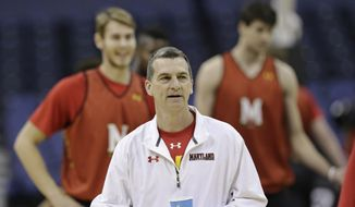 Maryland head coach Mark Turgeon watches during practice at the NCAA college basketball tournament in Columbus, Ohio, Thursday, March 19, 2015. Maryland plays Valparaiso in the second round on Friday. (AP Photo/Tony Dejak)