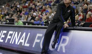 Kansas head coach Bill Self looks on during practice at the NCAA college basketball tournament, Thursday, March 19, 2015, in Omaha, Neb. Kansas plays New Mexico State in the second round on Friday. (AP Photo/Charlie Neibergall)