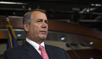 House Speaker John Boehner of Ohio pauses during a news conference on Capitol in Washington, Thursday, March 19, 2015. An uncharacteristic joint effort by Boehner and House Minority Leader Nancy Pelosi, to resolve a gnawing problem about how Medicare pays doctors underscores the political victories each sees in finally sweeping the issue off the deck _ if they can.  (AP Photo/Molly Riley)
