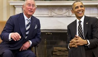 President Barack Obama meets with Britain's Prince Charles, Thursday, March 19, 2015, in the Oval Office of the White House in Washington. (AP Photo/Jacquelyn Martin)