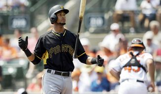 Pittsburgh Pirates' Pedro Florimon tosses his bat after striking out in the second inning of a spring training exhibition baseball game against the Baltimore Orioles in Sarasota, Fla., Thursday, March 19, 2015. (AP Photo/Carlos Osorio)