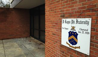 A sign hangs at the entrance to the Pi Kappa Phi fraternity house on the North Carolina State University campus in Raleigh, N.C., on Friday, March 20, 2015. The frat has been suspended as authorities investigate the discovery of what appears to be a pledge book filled with racially and sexually explicit language. (AP Photo/Jonathan Drew)