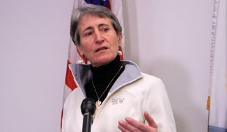Interior Secretary Sally Jewell speaks in Anchorage, Alaska, on Feb. 17, 2015. (Associated Press) **FILE**