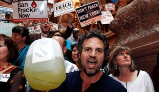 Actor Mark Ruffalo has been one of the protesters of proposed fracking in New York. At a New Yorkers Against Fracking rally in Albany, the group called on Gov. Andrew Cuomo to ban hydraulic fracturing. Mr. Cuomo gave in to the pressure and imposed a ban a month after his re-election. (Associated Press)