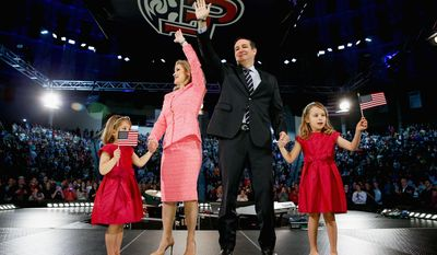 Meet the family: Sen. Ted Cruz was joined by his wife, Heidi, and their two daughters, Catherine (left), 4, and Caroline, 6, at Liberty University in Lynchburg, Virginia, as he announced his campaign for president at the Christian college. (Associated Press)