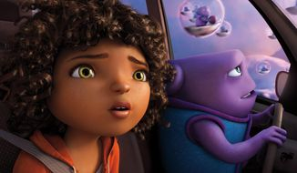 "In this image released by DreamWorks Animation, characters Oh, voiced by Jim Parsons, right, and Tip, voiced by Rihanna appear in a scene from the animated film ""Home."" (AP Photo/DreamWorks Animation)"