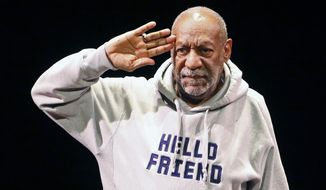 "FILE - In this Jan. 17, 2015 file photo, comedian Bill Cosby salutes the crowd as he begins a performance at the Buell Theater in Denver. Three women who allege Bill Cosby sexually assaulted them decades ago say in a court filing that he doesn't have a right to lie and hide behind the statements of his representatives to have their defamation lawsuit dismissed. Lawyers for the women intend to file a motion to obtain documents from a 2005 lawsuit against Cosby arising from a sexual assault allegation because they believe the documents ""will contradict assertions in defendant Cosby's motion to dismiss.""  (AP Photo/Brennan Linsley, File)"