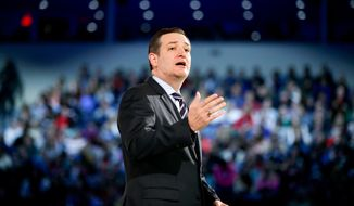 Sen. Ted Cruz, R-Texas, speaks at Liberty University, founded by the late Rev. Jerry Falwell, Monday, March 23, 2015, in Lynchburg, Va., to announce his campaign for president. Cruz, who announced his candidacy on twitter in the early morning hours, is the first major candidate in the 2016 race for president. (AP Photo/Andrew Harnik) ** FILE **