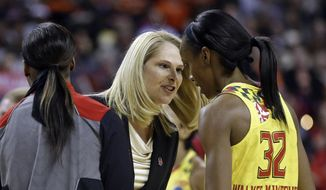 Maryland head coach Brenda Frese, center, speaks with guard Shatori Walker-Kimbrough (32) during a timeout in the first half of an NCAA college basketball game against Princeton in the second round of the NCAA tournament, Monday, March 23, 2015, in College Park, Md. Maryland won 85-70 (AP Photo/Patrick Semansky)