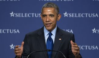 President Barack Obama speaks at the SelectUSA Investment Summit, hosted by the Commerce Department, Monday, March 23, 2015, in National Harbor, Md. (AP Photo/Cliff Owen)