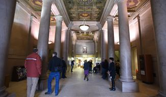 The Woodward Avenue entrance of the Detroit Public Library's 1921-built main branch is shown. The Detroit Public Library main branch is recognizing 150 years in operation. A public anniversary celebration is planned from 5 p.m. to 9 p.m. Wednesday, March 25, 2015, at the building in Detroit's Midtown. (AP Photo/The Ann Arbor News, Tanya Moutzalias) LOCAL TELEVISION OUT; LOCAL INTERNET OUT