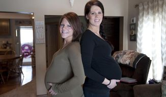 Kaitlynn Panak, left, and Jacea French have been best friends since they were 12-years-old. The two, both of Brooklyn, are both pregnant and are due within days of each other. (AP Photo/The Jackson Citizen Patriot, J. Scott Park)