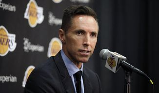 Los Angeles Lakers' Steve Nash speaks at a news conference, Tuesday, March 24, 2015, in El Segundo, Calif. Nash announced his retirement Saturday, March 21, 2015 after a 19-year NBA career that included two MVP awards. (AP Photo/Jae C. Hong)