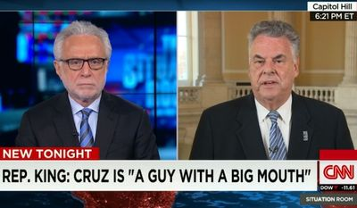 """New York Rep. Peter King hammered Sen. Ted Cruz on Monday, calling the fellow Republican a big-mouthed """"carnival barker"""" who has no business running for president. (CNN)"""