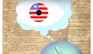 Illustration on public apathy in the face of unconstitutional government surveillance by Alxander Hunter/The Washington Times