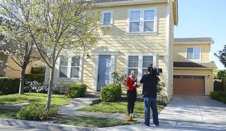 A news crew reports on the abduction of Denise Huskins in front of the home she was taken from in Vallejo, Calif., Wednesday, March 25, 2015. Police in the San Francisco Bay Area now say they think it was a hoax. (AP Photo/Vallejo Times-Herald, Chris Riley)