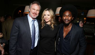 "Brian Bosworth, Mira Sorvino and Shwayze seen at Pure Flix Entertainment premiere of ""Do You Believe?"" at Arclight Hollywood on Monday, March 16, 2015, in Los Angeles, CA. (Photo by Eric Charbonneau/Invision for Pure Flix/AP Images)"