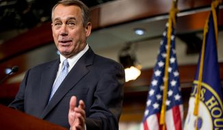 House Speaker John Boehner of Ohio speaks to members of the media during his weekly news conference on Capitol Hill in Washington on March 26, 2015. (AP Photo/Andrew Harnik) **FILE**