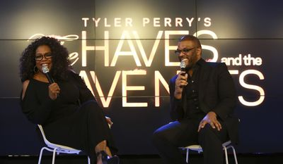 "Tyler Perry, above at the OWN: Oprah Winfrey Network 2015 upfront presentation in New York, has scored record ratings for the network with his series ""The Haves & The Have Nots."" (Photo by Mark Von Holden/AP for OWN)"