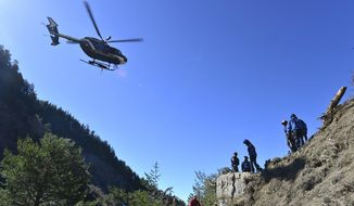 In this undated photo provided by the French Interior Ministry, French emergency rescue services work at the site of the Germanwings jet that crashed on Tuesday, March 24, 2015, near Seyne-les-Alpes, France. (AP Photo/French Interior Ministry, Francis Pellier)