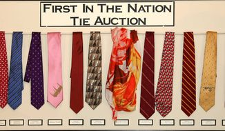 Could ties predict a victor? A blue silk tie belonging to Jeb Bush (fourth from left) fetched the most at a GOP fundraising auction. (Grafton County Republican Committee)