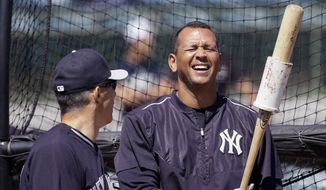 New York Yankees third baseman Alex Rodriguez shares a laugh with manager Joe Girardi during batting practice of a spring training exhibition baseball game against the Houston Astros in Kissimmee, Fla., Sunday, March 29, 2015. (AP Photo/Carlos Osorio)