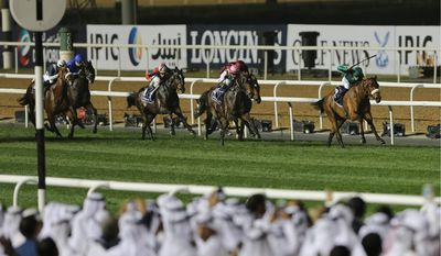 United Arab Emirates Prime Minister Sheikh Mohammed bin Rashid Al Maktoum is betting that the Dubai World Cup will enrich the UAE's fortunes amid an economic downturn. (Associated Press)
