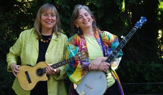 "Known for their mix of folk, old-time country and swing, Marcy Marxer (left) and Cathy Fink are touring their 44th album, ""Dancin' in the Kitchen."""